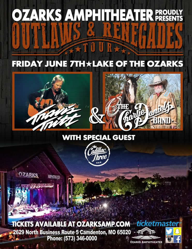 aef6843b77e KS95.1 welcomes the Outlaws and Renegades Tour to Ozarks Amphitheater.  Travis Tritt and The Charlie Daniels Band